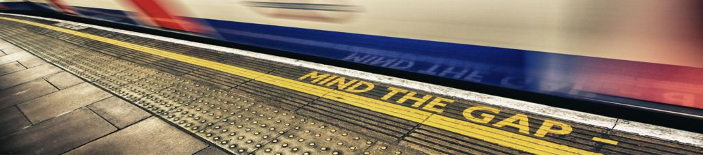 Picture of the 'Mind The Gap' statement from The London Underground.